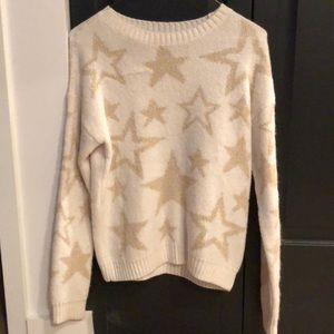 Ivory and gold metallic star sweater by ecote